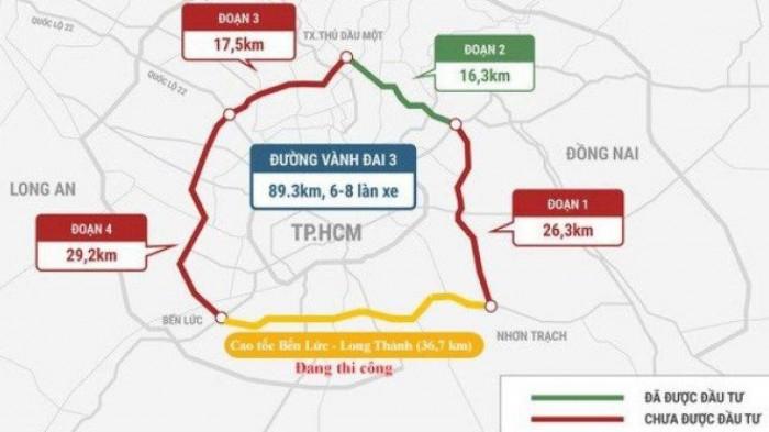 Cần 156.000 tỷ đồng để đầu tư hoàn chỉnh tuyến Vành đai 3 TP HCM với quy mô 8 làn xe.